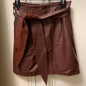Reiss Burgundy Leather skirt with Belt